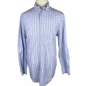Peter Millar Button Front Shirt Large Blue Plaid